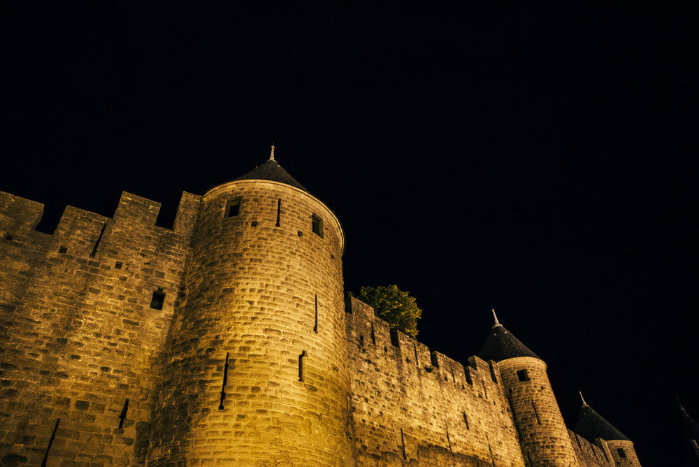 Citadel Carcassonne at night Essex UK Documentary Photographer