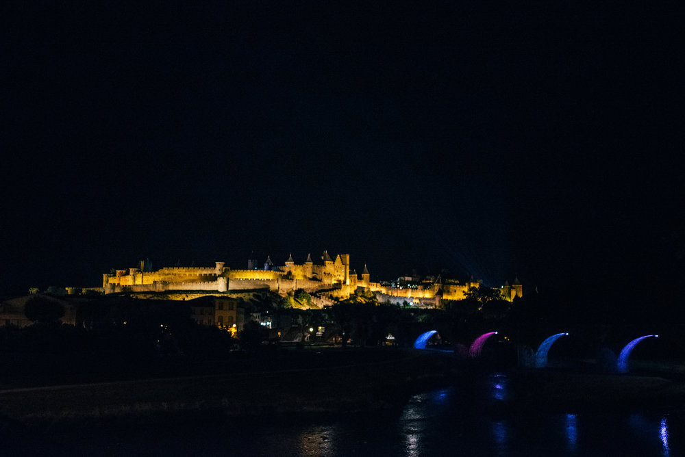 Citadel Carcassonne at night from city Essex UK Documentary Photographer