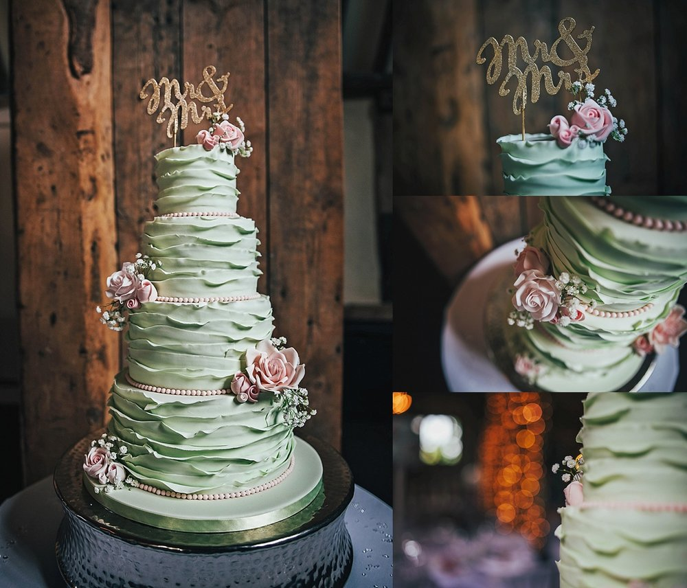 Bride Groom Essex Wedding Photographer Documentary Blake Hall Mint green wedding cake with topper