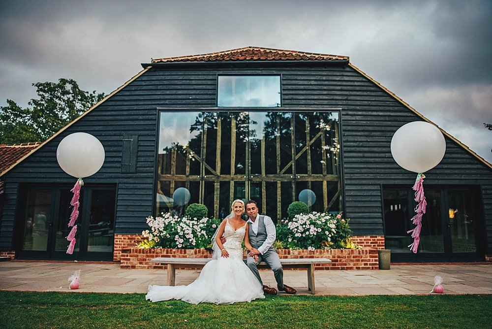 Bride Groom Essex Wedding Photographer Documentary Blake Hall Barn Large Balloons