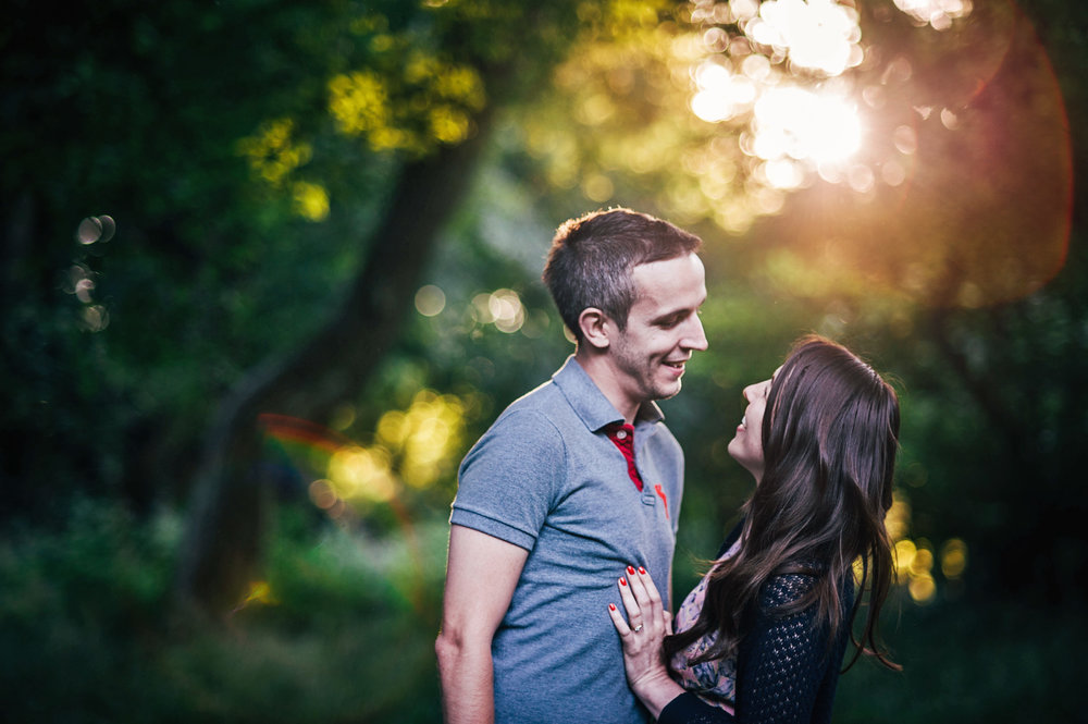 Forest at Sunset Couples Portrait Shoot Essex UK Documentary Photographer