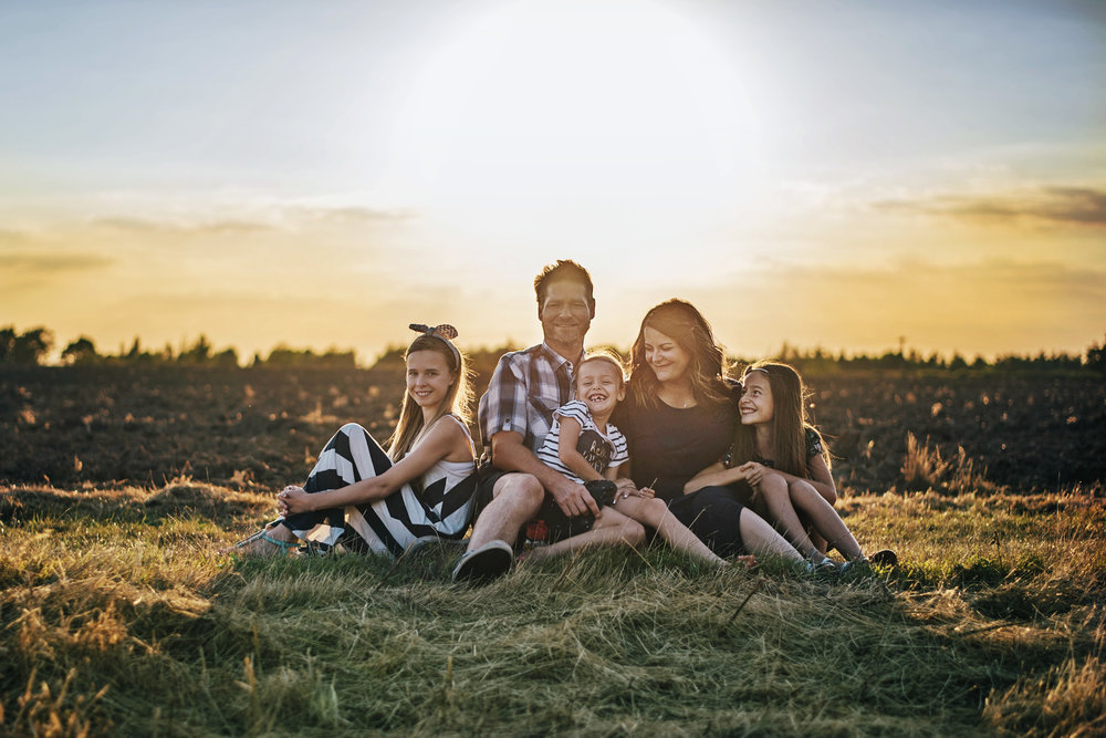 Family Sunset Golden Hour Summer Portrait Essex UK Documentary Portrait Photographer