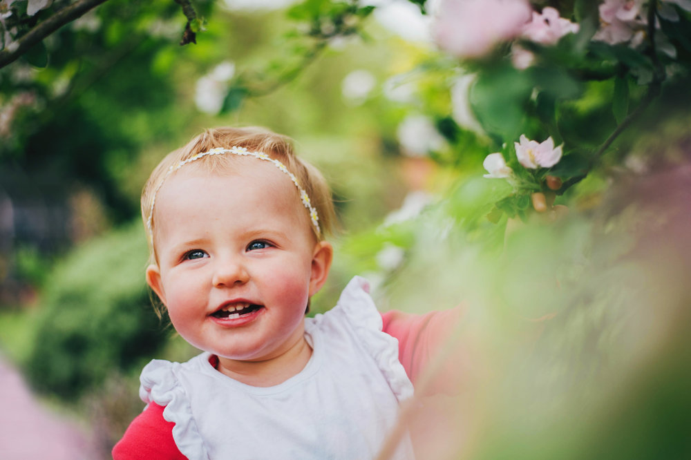 Baby Girl in Blossom tree Lifestyle Shoot Essex UK Documentary Portrait Photographer