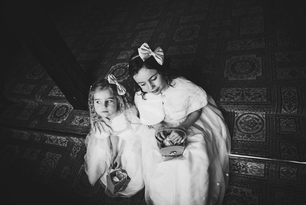 Flower girls for Rustic Wedding White Heart Great Yeldham Essex UK Documentary Photographer