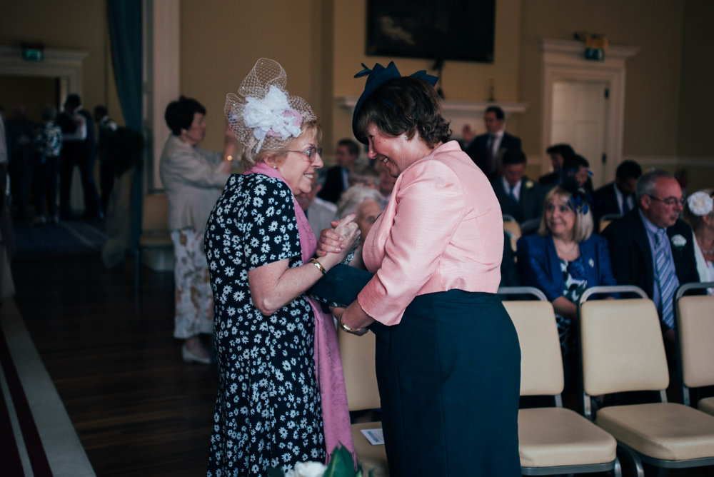 Guests at Stratford Upon Avon Town Hall Tipi Wedding Essex UK Documentary Photographer