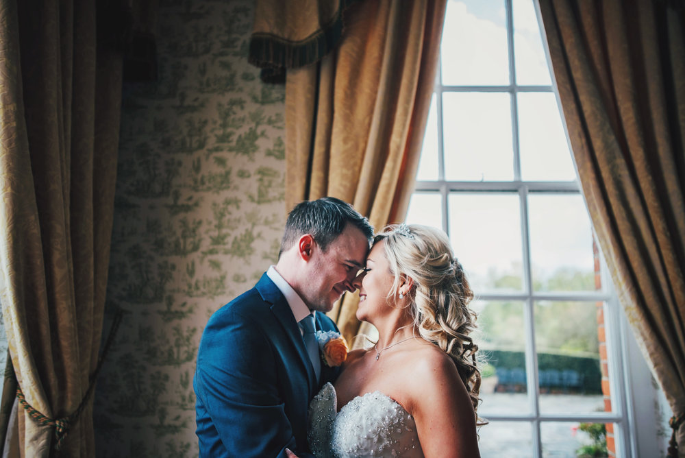 Bride and Groom at Parklands Quendon Hall Essex UK Documentary Wedding Photographer