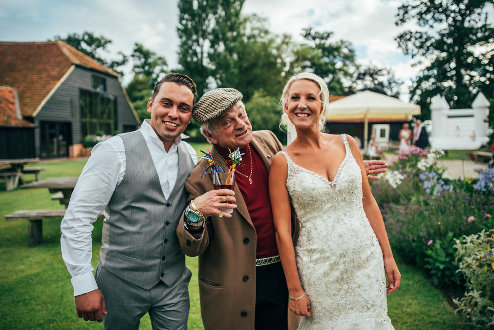 Bride & Groom with Del Boy at Blake Hall Ongar Essex UK Documentary Wedding Photographer