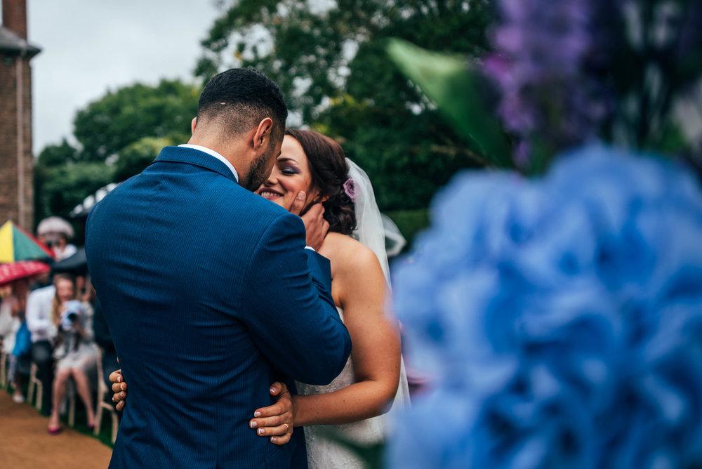 Bride & Groom at Alter Dewsall Court Wedding Essex UK Documentary Wedding Photographer