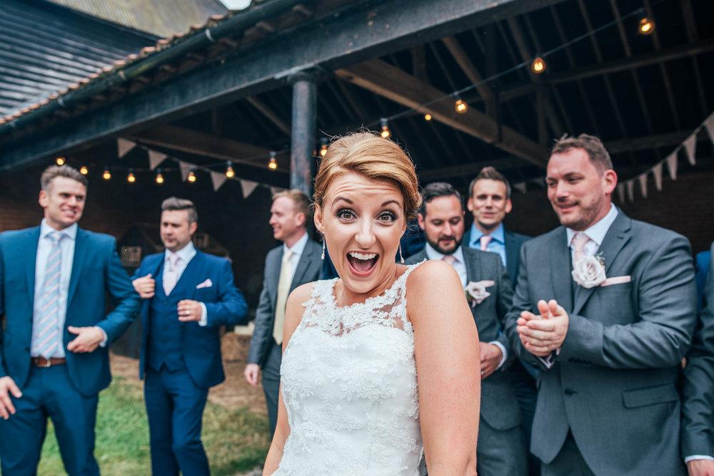 Laughing Bride DIY Farm Wedding Essex UK Documentary Wedding Photographer