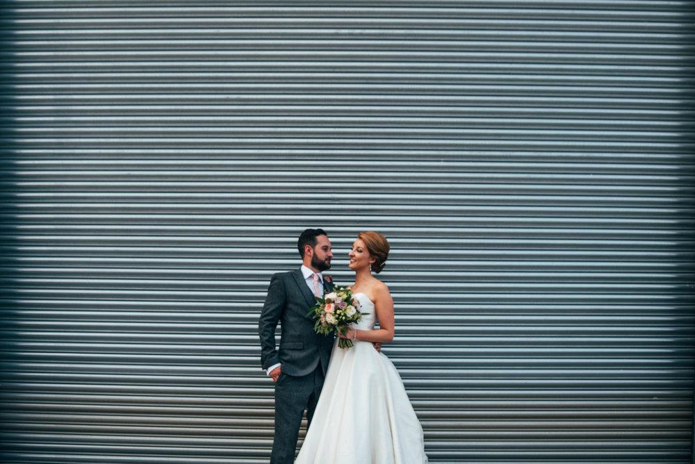 Bride and Groom Industrial DIY Farm Wedding Essex UK Documentary Wedding Photographer