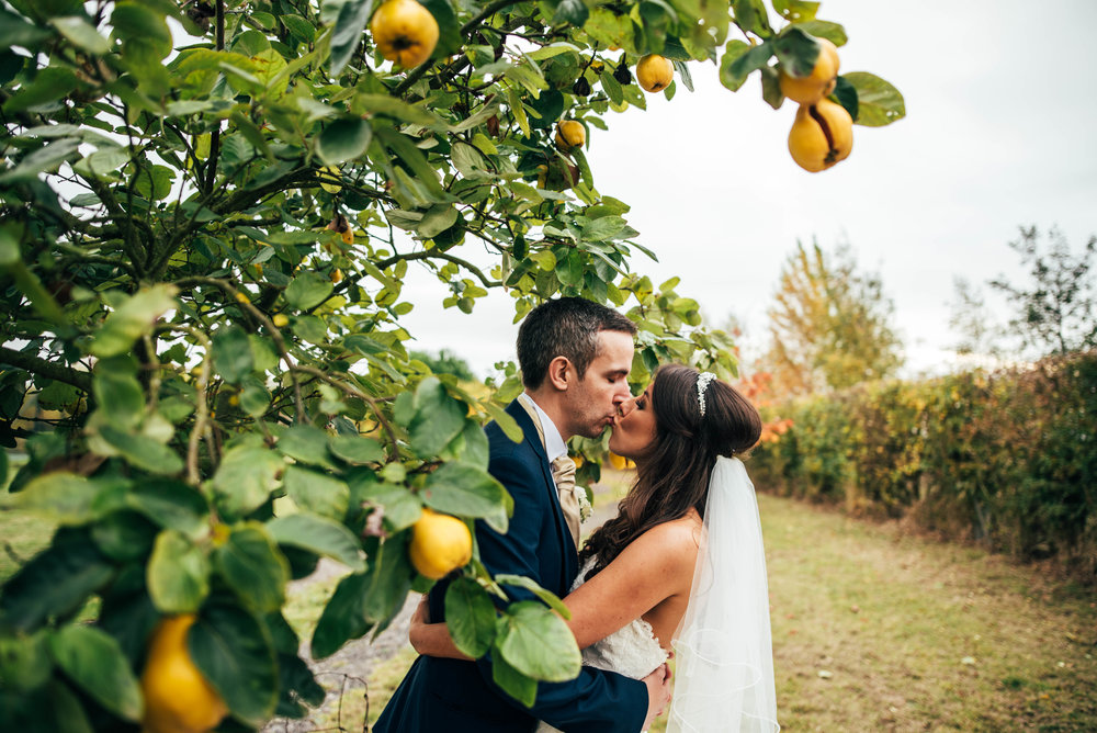Bride Groom kiss under Pear Tree Autumn Maidens Barn Wedding Essex UK Documentary Photographer