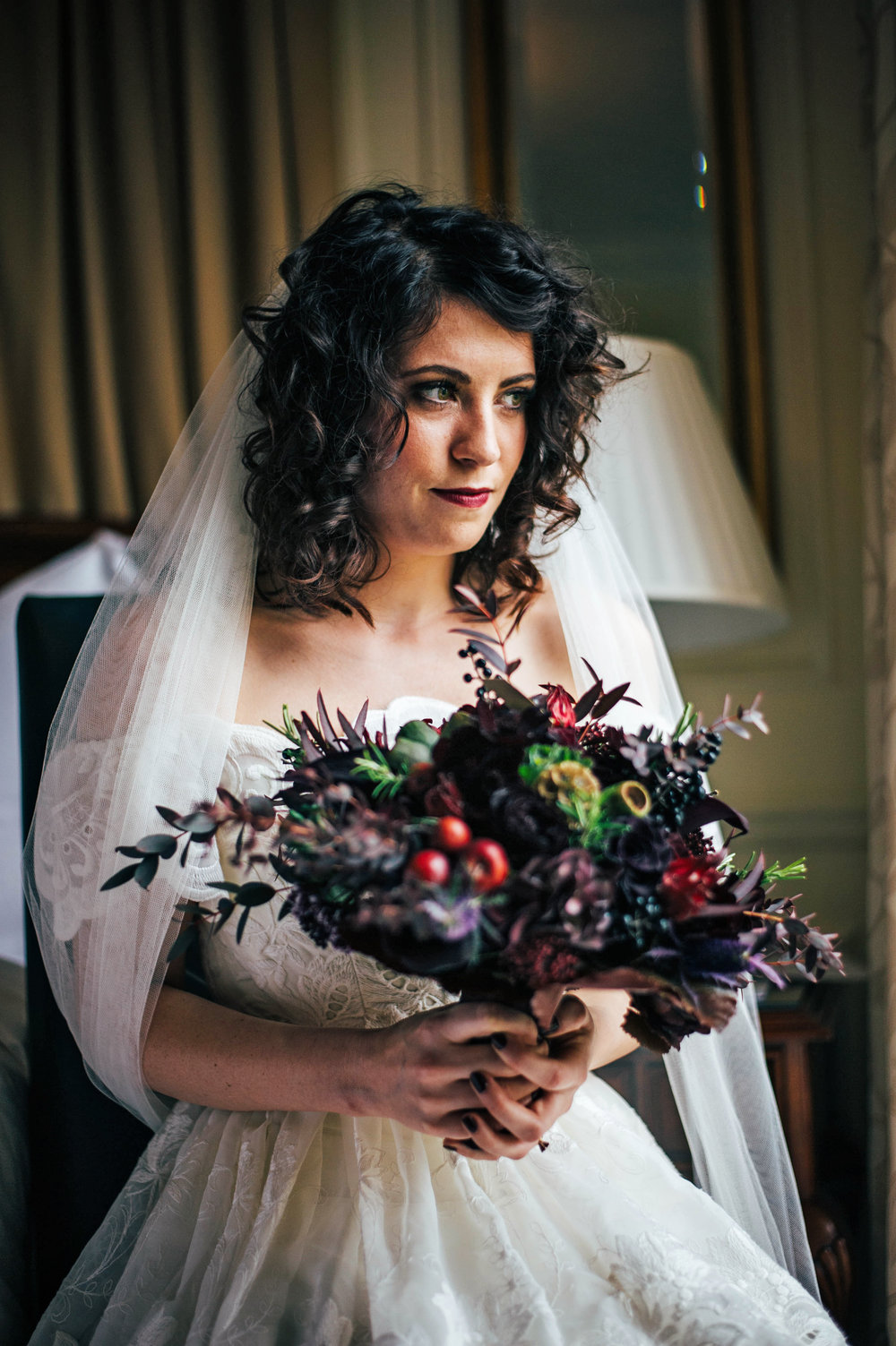 Bride Gothic 80s vintage dress Rotherwick Village Hall DIY wedding Essex UK Documentary Photographer