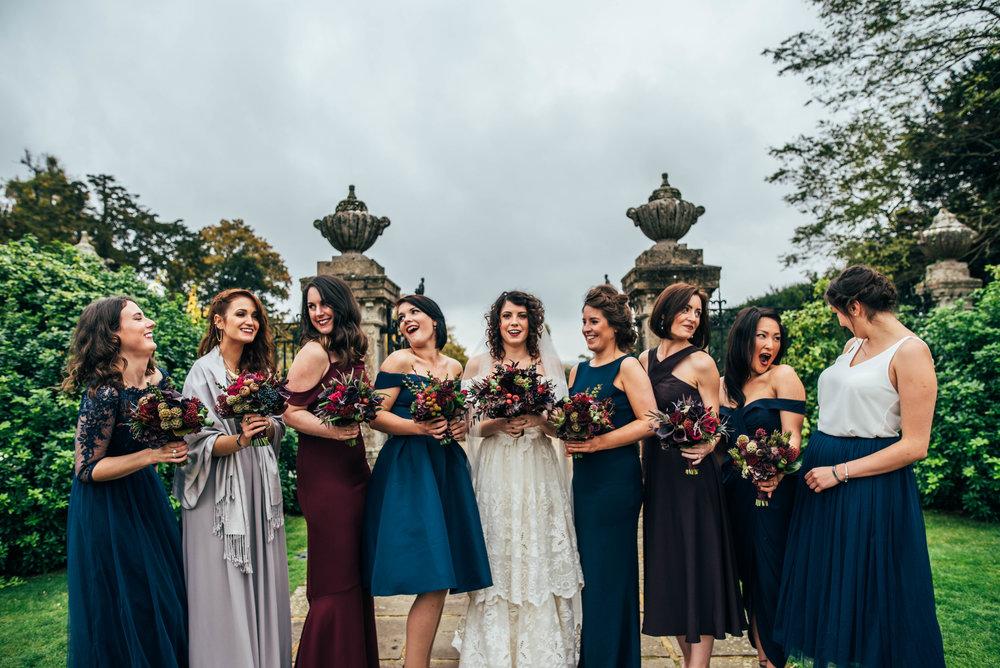 Bride Bridesmaids 80s vintage dress Gothic DIY Rotherwick Village Hall Essex UK Documentary Wedding Photographer