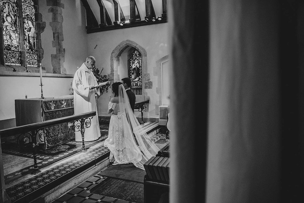 Gothic inspired vintage 80s dress Autumn Village Hall wedding Essex UK Documentary Wedding Photographer