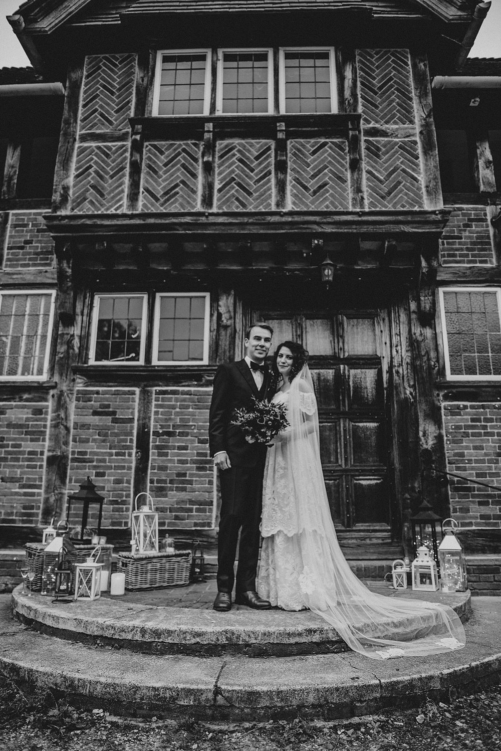 Gothic inspired Autumn wedding Village Hall vintage 80s dress Essex UK Documentary photographer