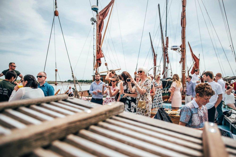 Alternative diy wedding on a boat with steam fairground Essex UK Documentary Wedding Photographer