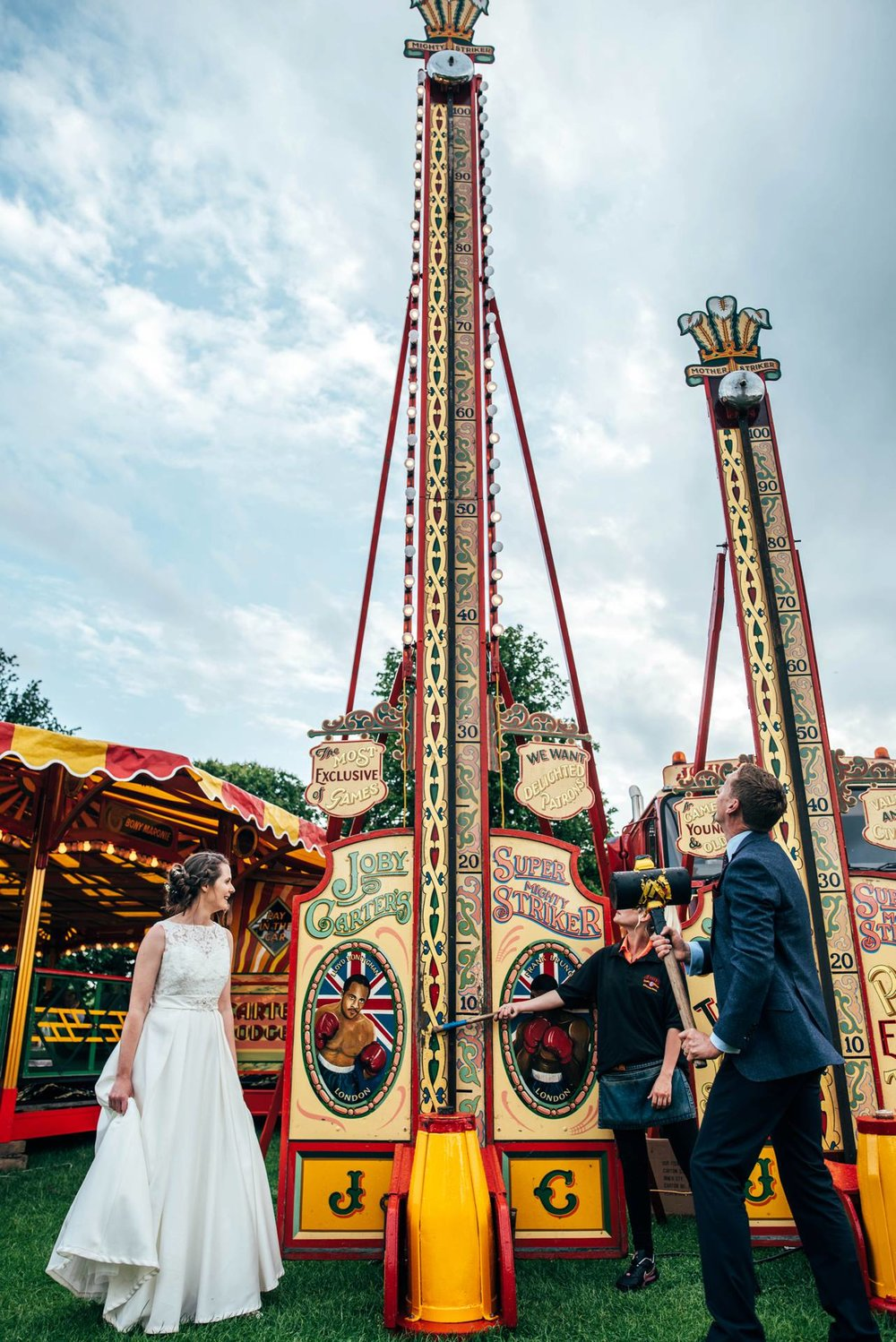 Alternative diy wedding on a boat with steam fairground Essex UK Documentary Wedding Photographer