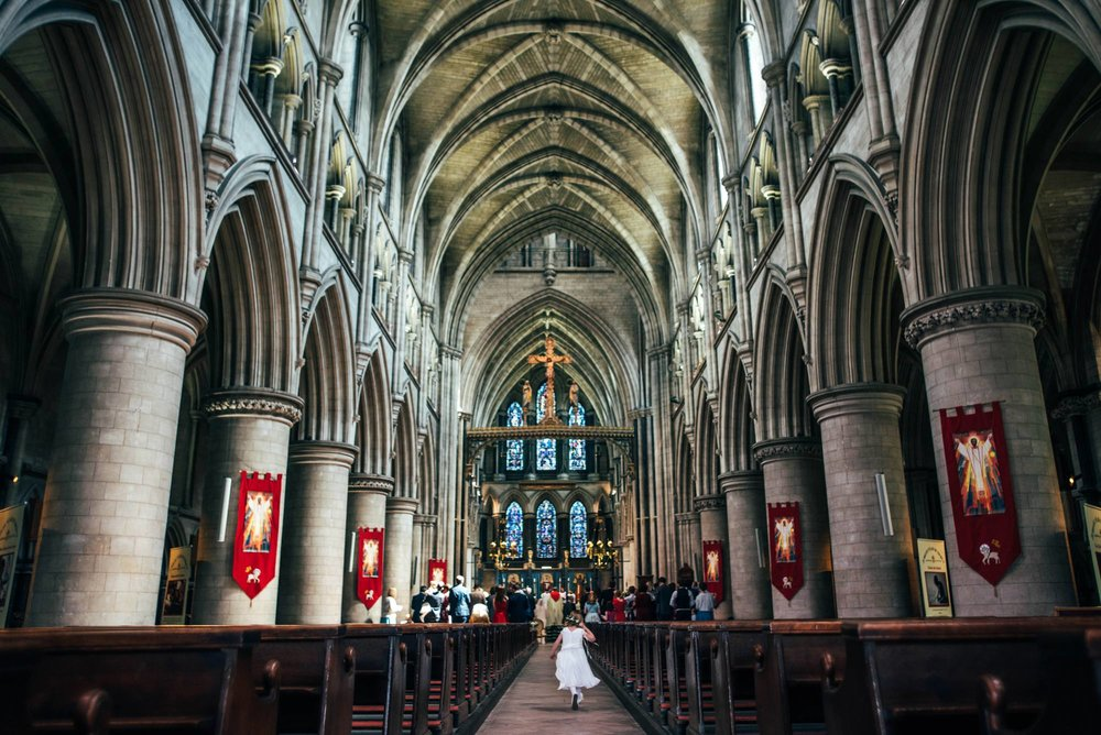 Elegant English Wedding Pink Flower Crowns Norwich Cathedral Kimberley Hall Bride wears Katrine Mogensen Essex UK Documentary Wedding Photographer