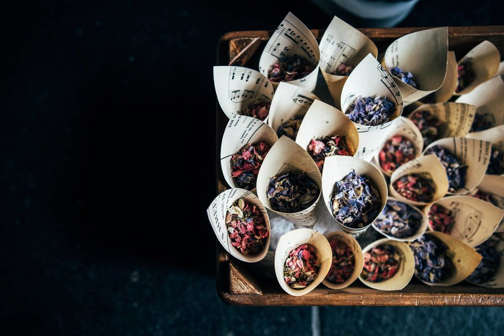 Dried petal confetti Grey & Lilacs Rustic Old Brook Barn Wedding Bride wears Enzoani Essex Documentary Wedding Photographer