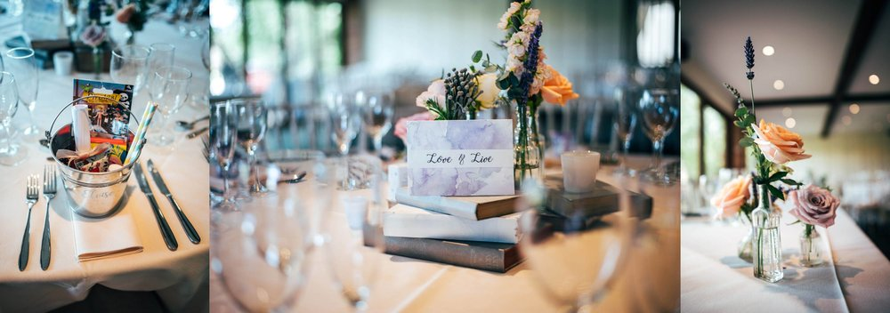 Flowers and Books for centre pieces at Grey & Lilacs Rustic Old Brook Barn Wedding Bride wears Enzoani Essex Documentary Wedding Photographer