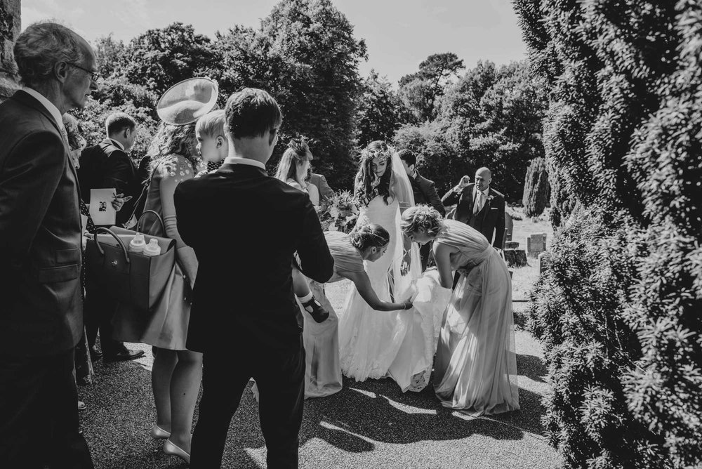 Romantic Rustic Barn Wedding at Blake Hall Essex Bride Wears Pronovias. Foliage and Flower Crowns. Essex Documentary Wedding Photographer