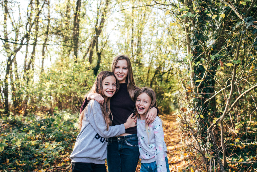 Three Sisters in Autumn Portrait Essex UK Documentary Wedding Photographer