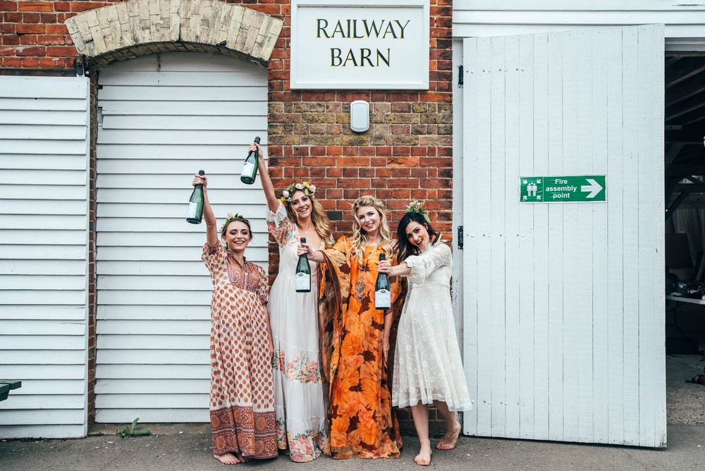 Bohemian Hen Party Celebration at The Railway Barn Essex Documentary Wedding Photographer