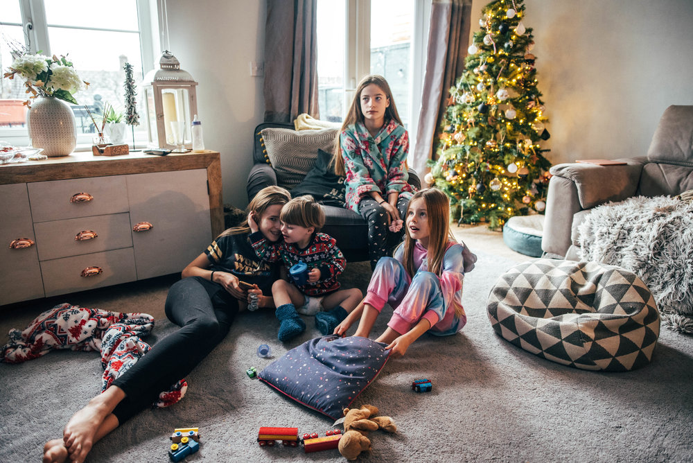 Kids at Christmas Essex UK Wedding Documentary Photographer