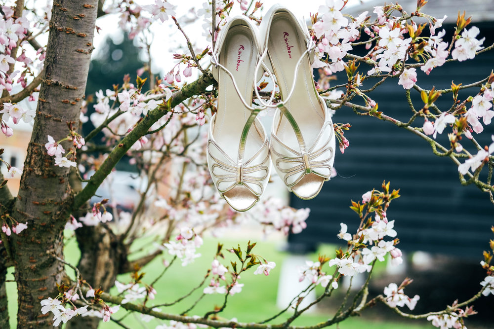 Rainbow Club shoes for Rustic Blush Pink Spring Wedding at Blake Hall Essex Documentary Wedding Photographer