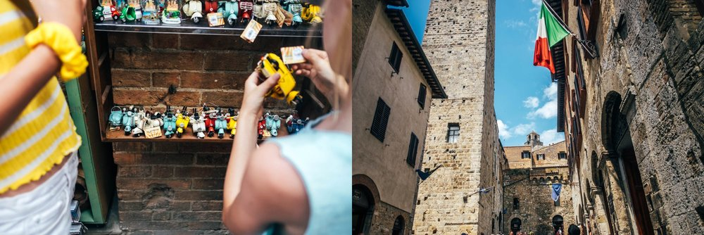 Shoppers in St Gimignano Tuscany Essex Documentary Wedding Travel Photographer