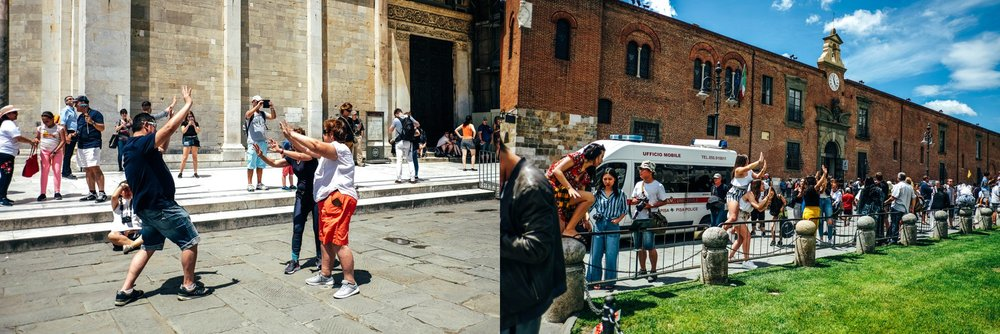 Tourists at Pisa Essex Documentary Travel Wedding Photographer
