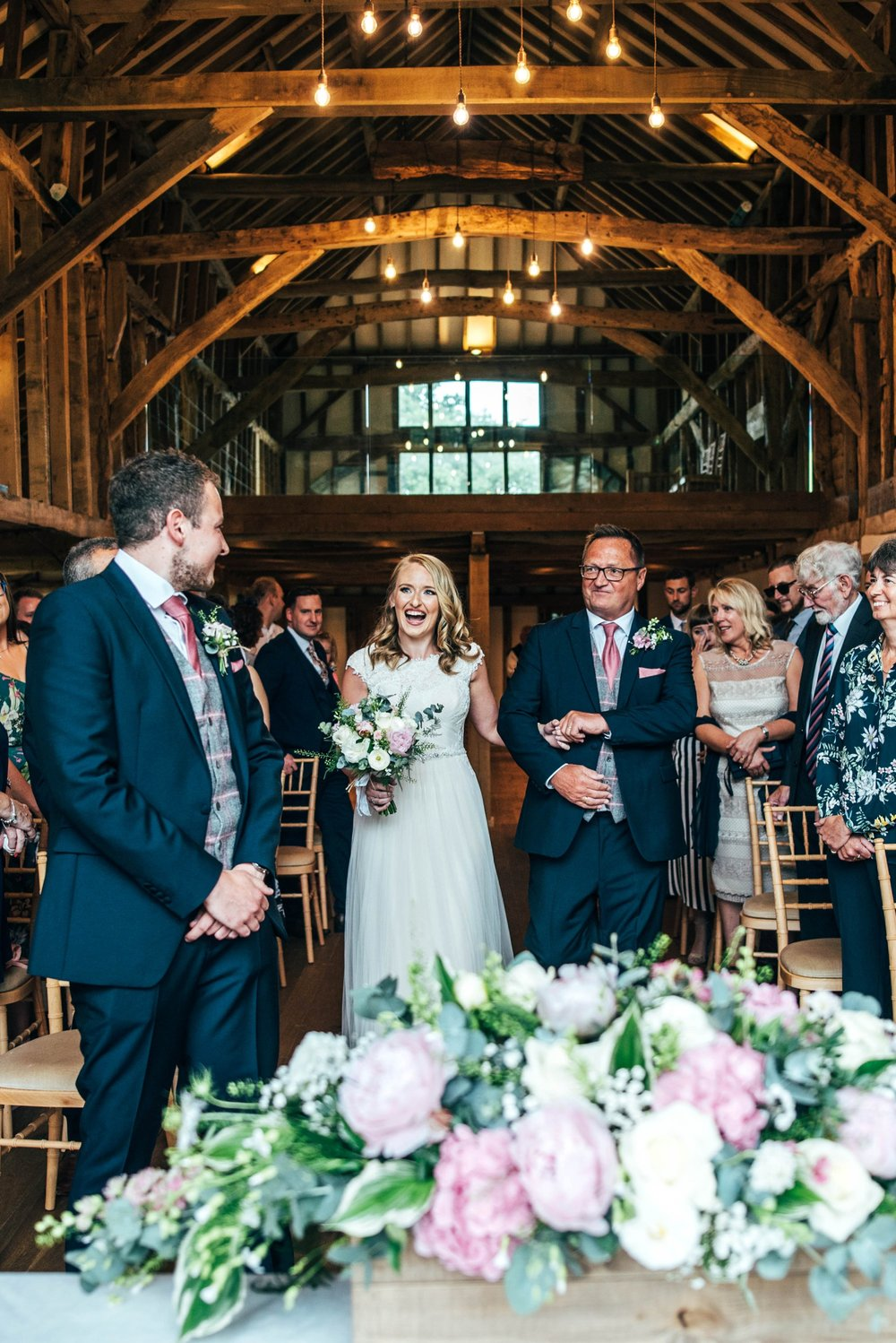 Blush Pink Spring Barn Wedding Blake Hall Essex. Bride wears Maggie Sotterro. Essex Documentary Wedding Photographer