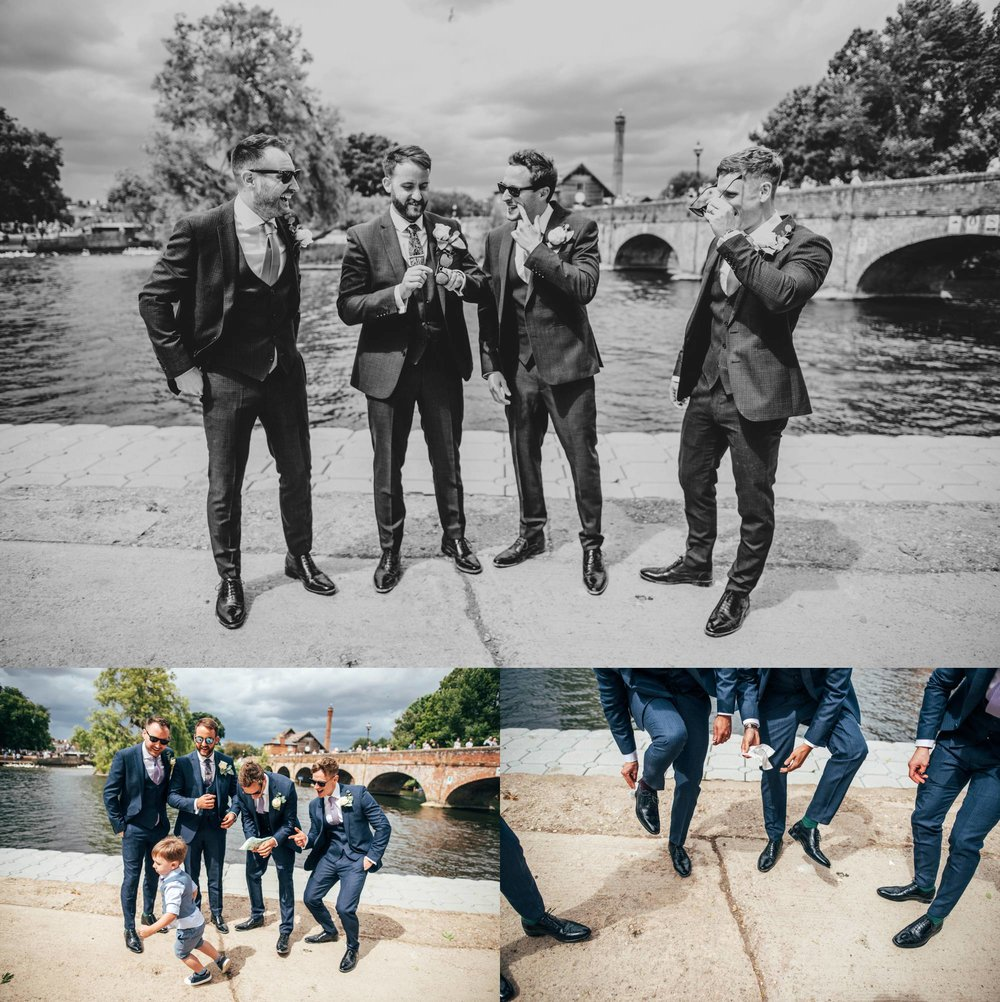 A rainy, riverside wedding in Stratford Upon Avon.  Essex Documentary Wedding Photographer.