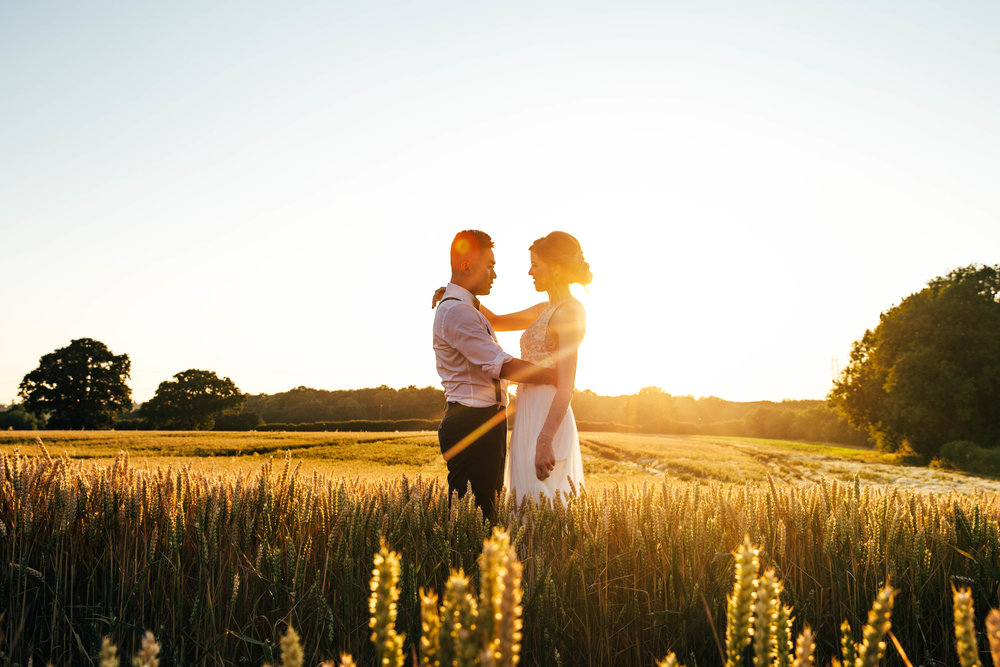 Bride & Groom at The Long Barn, Sunset, Golden Hour, Essex Documentary Wedding Photographer