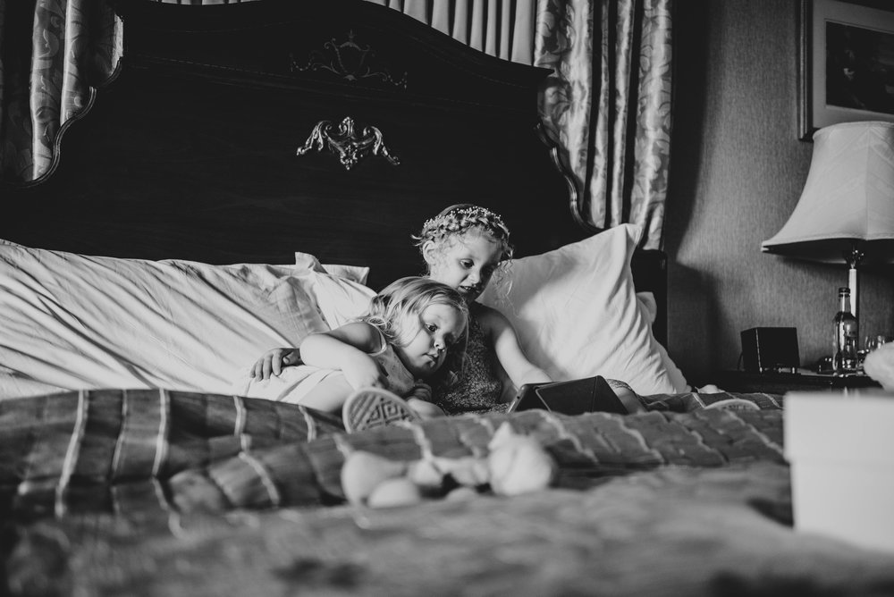 Flower girls during Bridal Prep at Ashdown Park Hotel, Essex Documentary Wedding Photographer