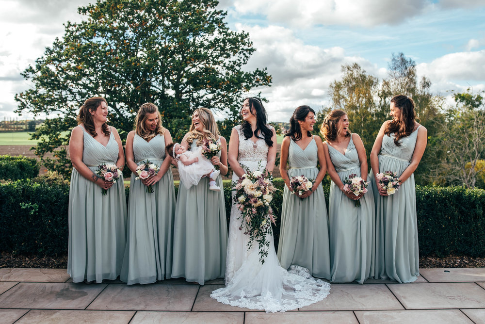 Autumn Bride with Bridesmaids in Blue, Essex Documentary Wedding Photographer