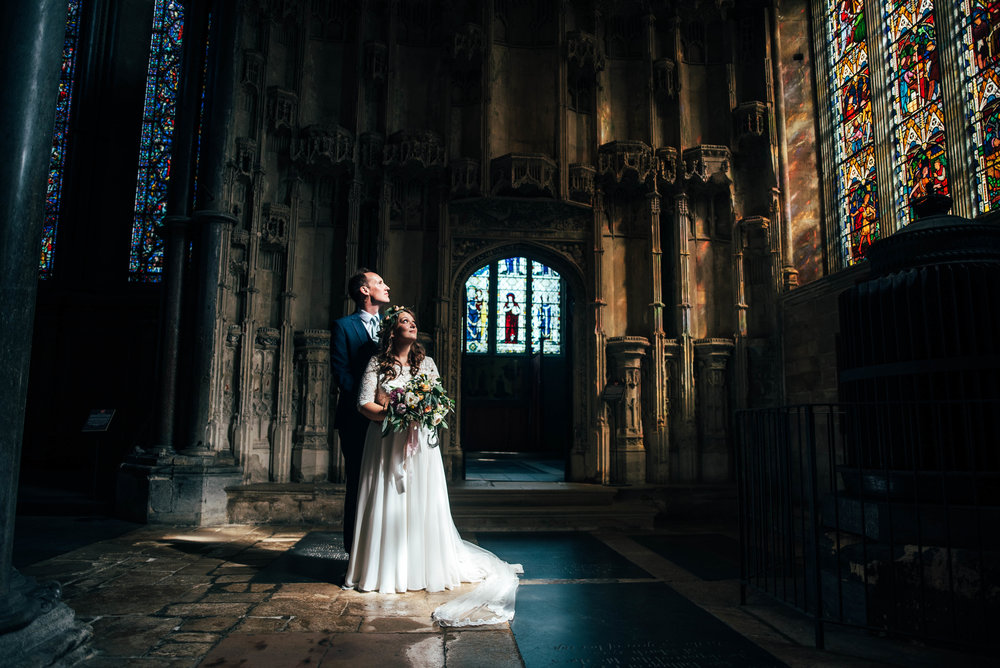 Bride & Groom in Ely Cathedral Essex Documentary Wedding Photographer