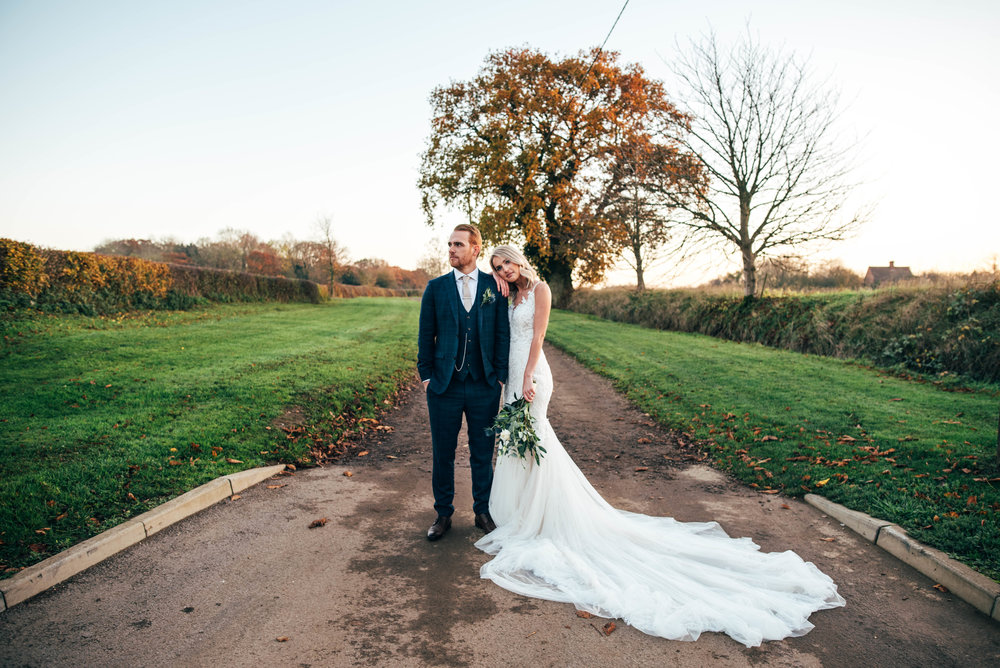 Bride and Groom for Autumn wedding at The Granary Estates, Woodditton.  Essex Documentary Wedding Photographer