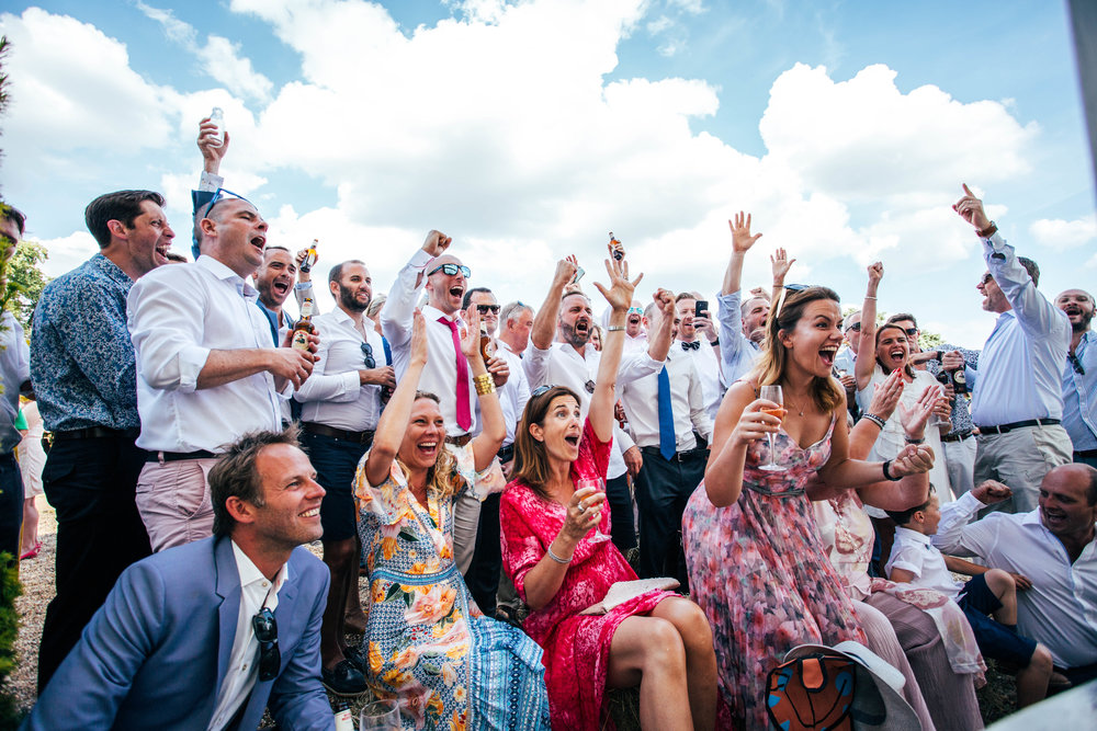 England score in Quarter Final of World Cup during Wedding Reception Essex Documentary Wedding Photographer