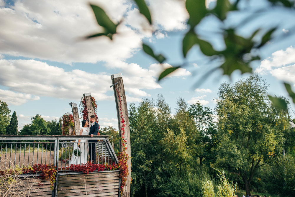 Bride and Groom at Mile End Ecology Pavilion. Essex Documentary Wedding Photographer