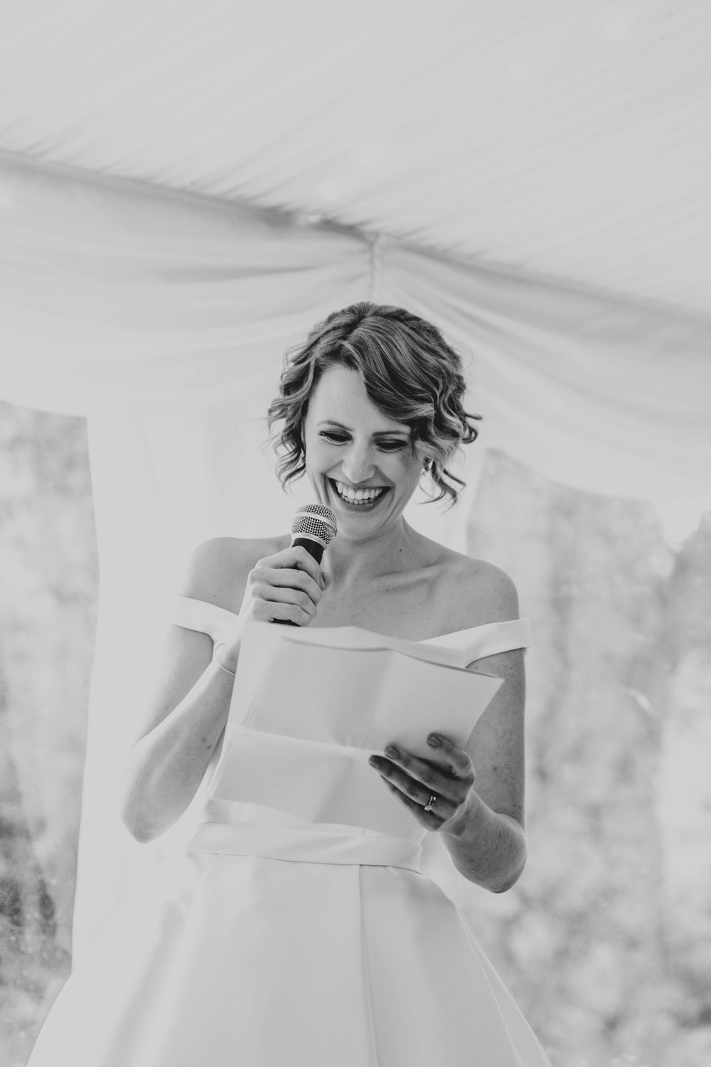 Bride gives speech at Hedingham Castle Essex Documentary Wedding Photographer