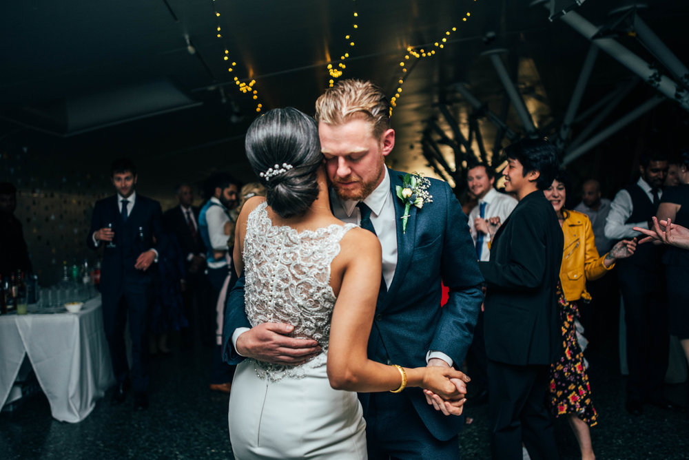 Bride and Groom First Dance Mile End Ecology Pavilion Essex Documentary Wedding Photographer