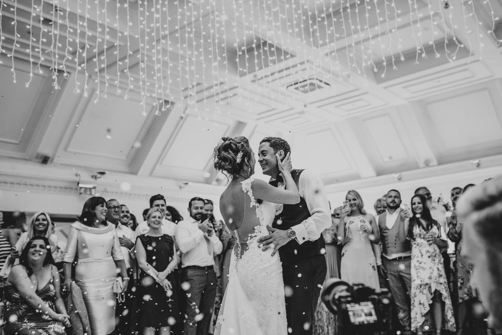 Bride and Groom First Dance at Stock Brook Manor, Billericay, Essex Documentary Wedding Photographer