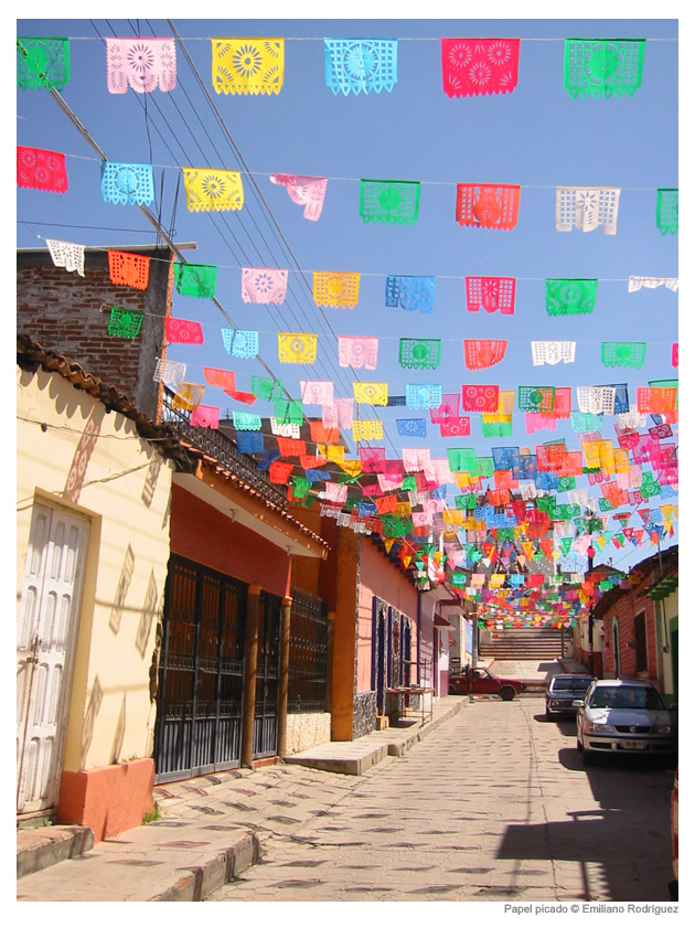 Traditional papel picado flags.