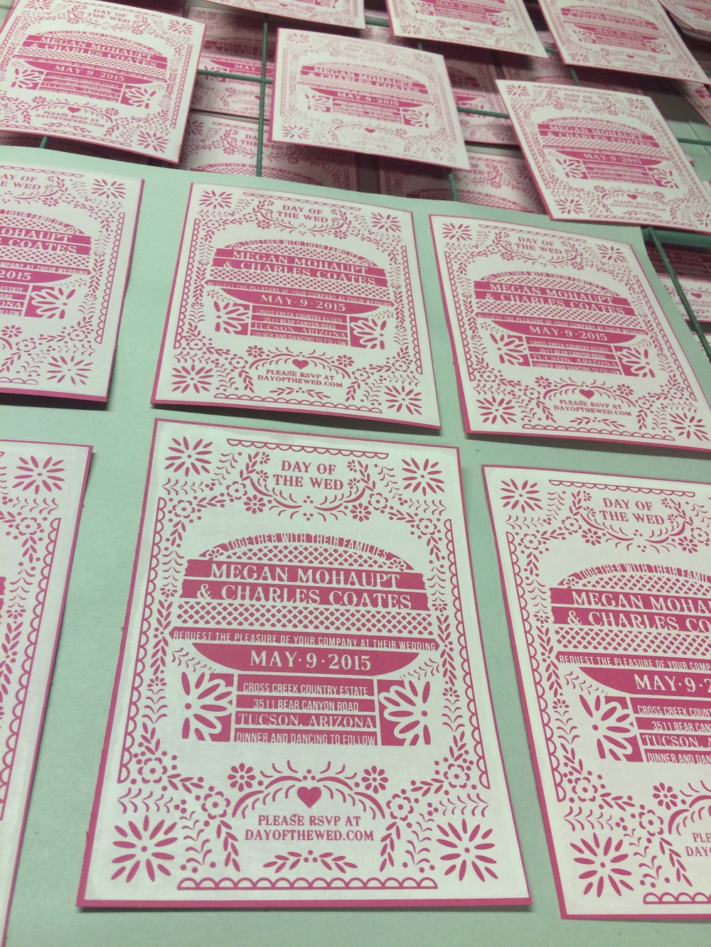 A close up of your invite drying!