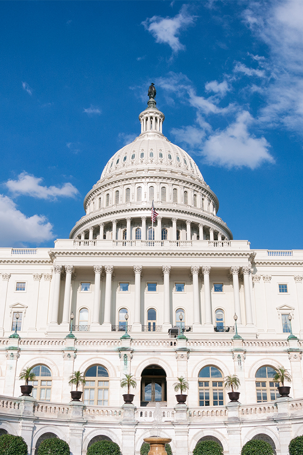 The U.S. Capitol (completed in the year 1800) is the seat of the United States Congress, the legislative branch of the U.S. federal government. The Capitol is the origin point at which the District's four quadrants meet, and around which the city was laid out.