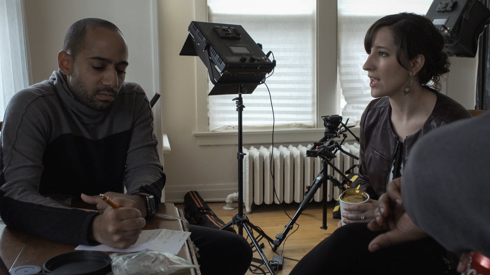 Film Director Preston Miller and Ballet 5:8 Artistic Director Julianna Slager discuss progress during the filming of  Scarlet