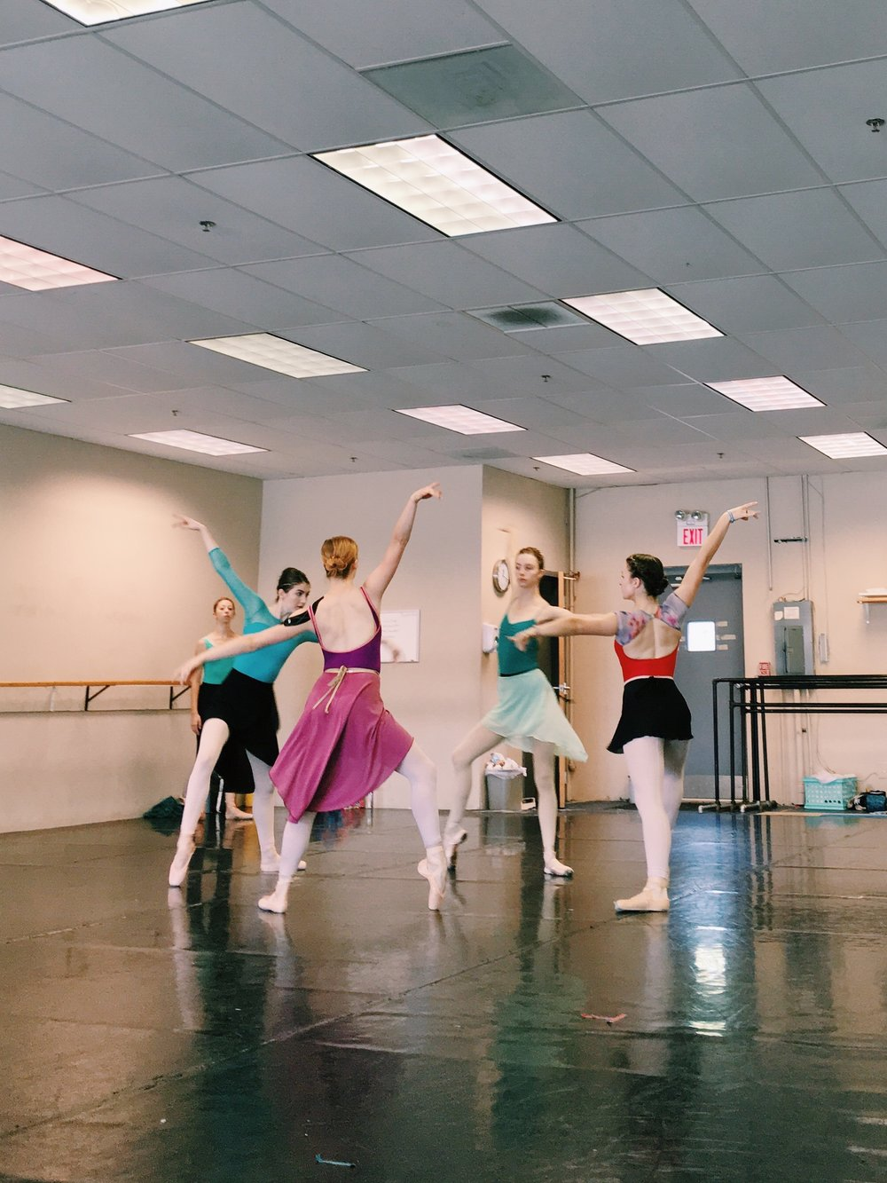 Senior Apprentice Laura Peterman and artists of the company rehearsing culture one in  All   God's Children .
