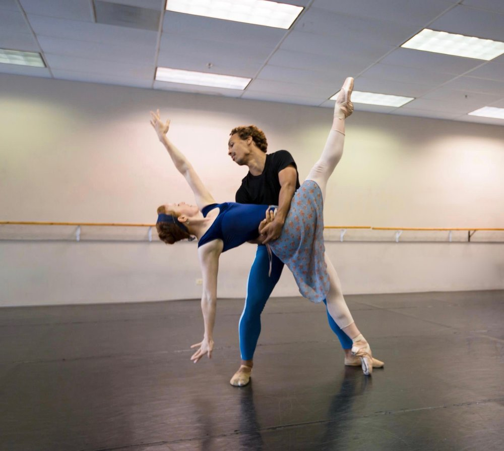 Company Apprentice Jessica Lohr (left) rehearsing Shades of Refrain.