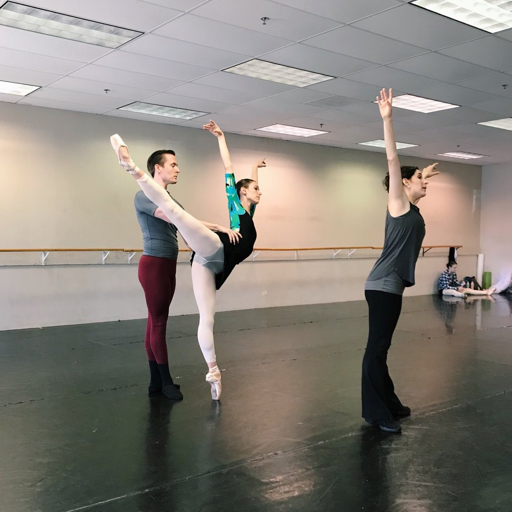 Artistic Director Julianna Rubio Slager working with Company Artists Jessica Lohr and Sam Opsal in the Spring  pas de deux  from  Four Seasons of the Soul .